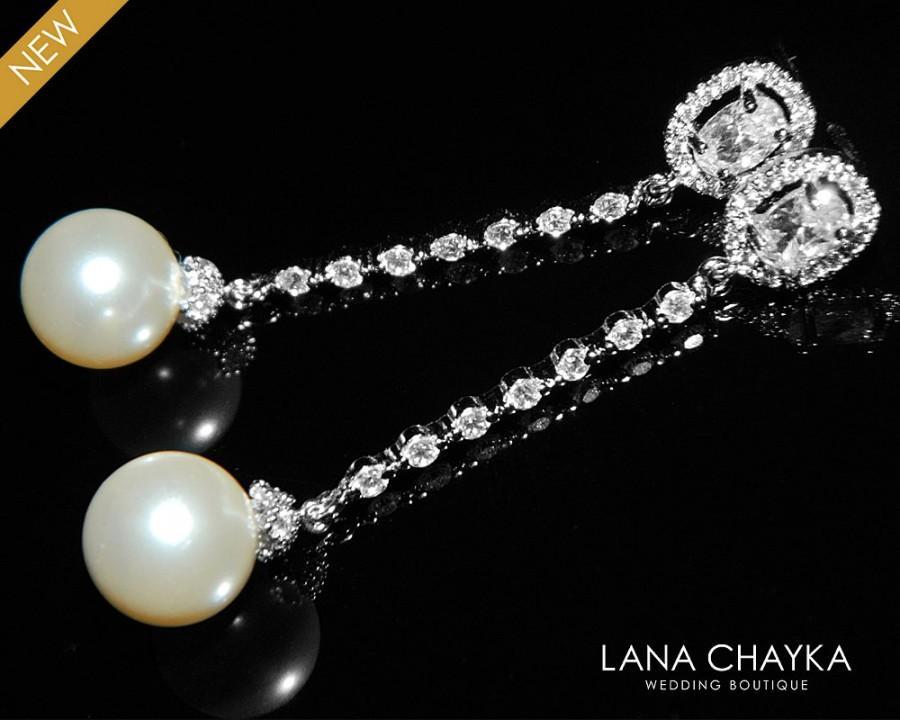زفاف - Pearl Cubic Zirconia Long Earrings Bridal Pearl Dangle Earrings Swarovski 10mm Ivory Pearl Silver Earrings Wedding Earring Bridal Jewelry - $28.50 USD