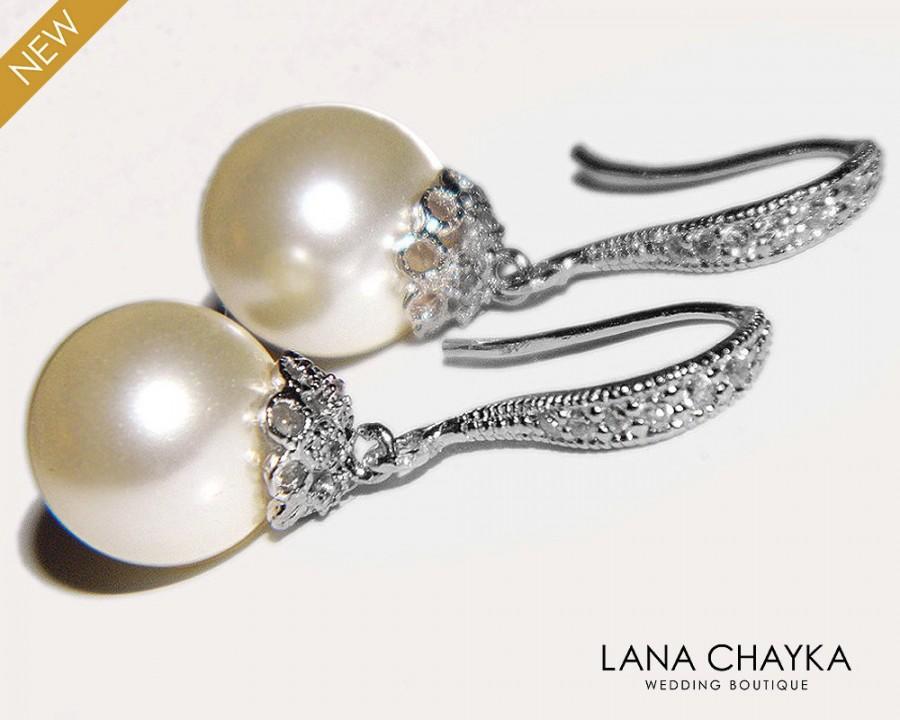 Hochzeit - Bridal Pearl Earrings Pearl Drop Wedding Earrings Swarovski 10mm Ivory Pearl Sterling Silver CZ Earrings Bridal Jewelry FREE US Shipping - $28.50 USD