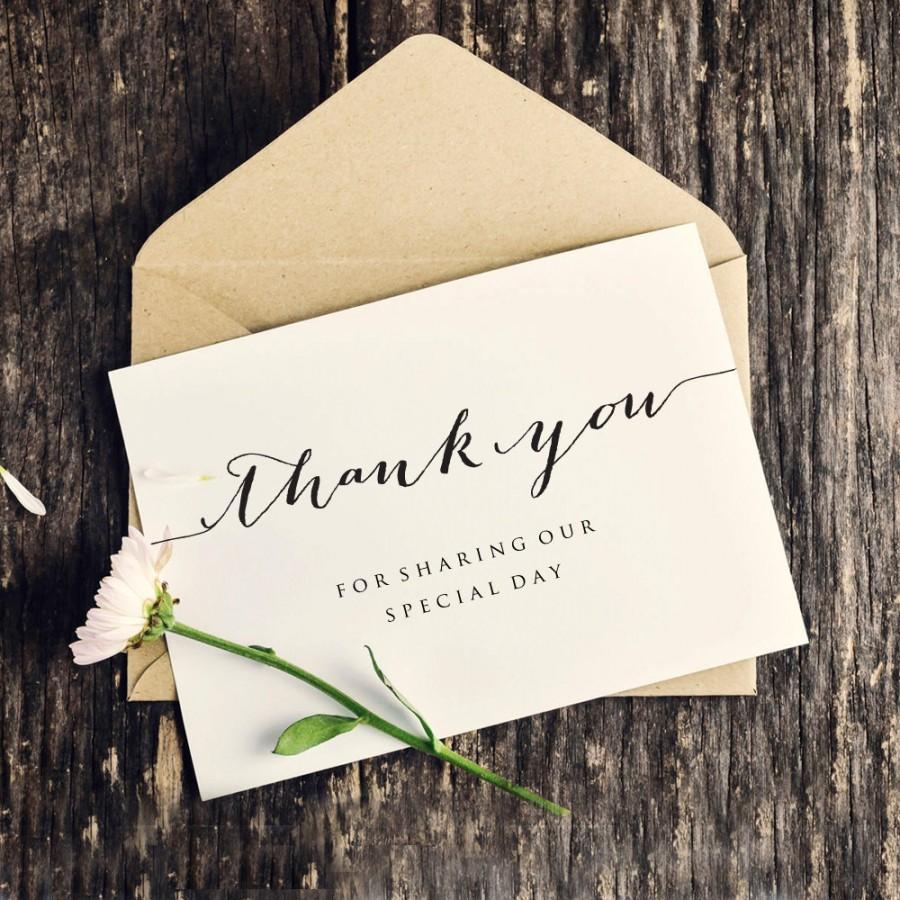 Hochzeit - Thank You Wedding Card Template, Personalized Wedding Card, Thank You For Sharing Our Special Day, Printable Wedding Card Template,  - $6.50 USD