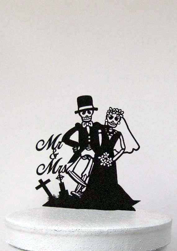 Mariage - Wedding Cake Topper - Halloween Wedding Cake Topper, Skeleton Wedding Cake Topper with Mr & Mrs