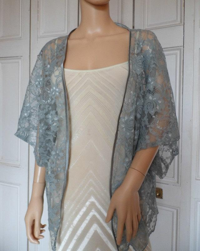 Hochzeit - Grey lace kimono/jacket/wrap/cover-up/bolero with satin edging