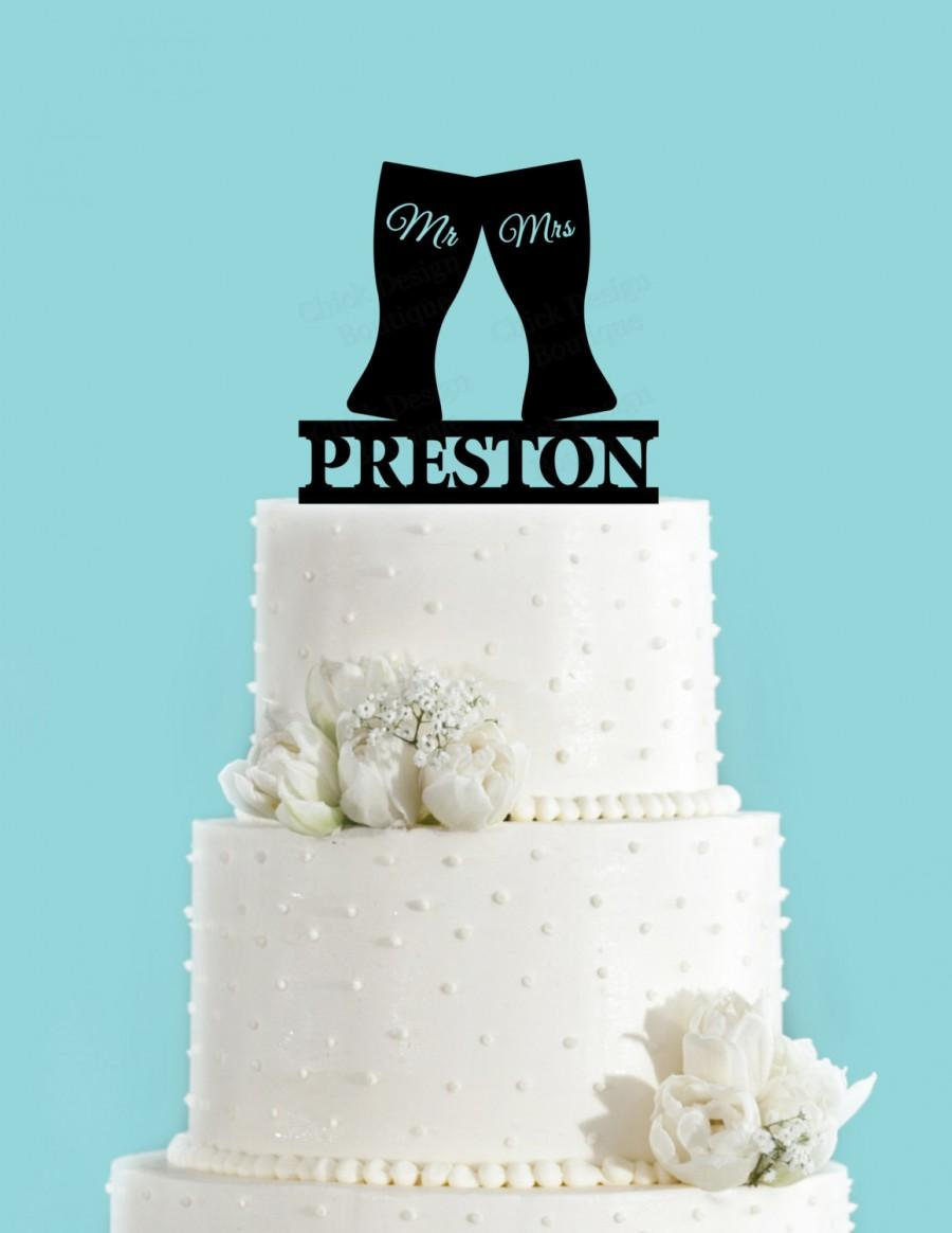 Beer Glasses Toasting Personalized Acrylic Wedding Cake Topper - Beer Can Wedding Cake