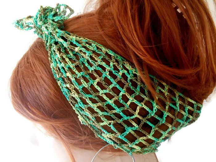 Mariage - Green Knitted Headband, Headband for Women, Head Cover, Handmade Headband, Summer Headband, Boho Headband, Knit Hair Band, Crochet Head band