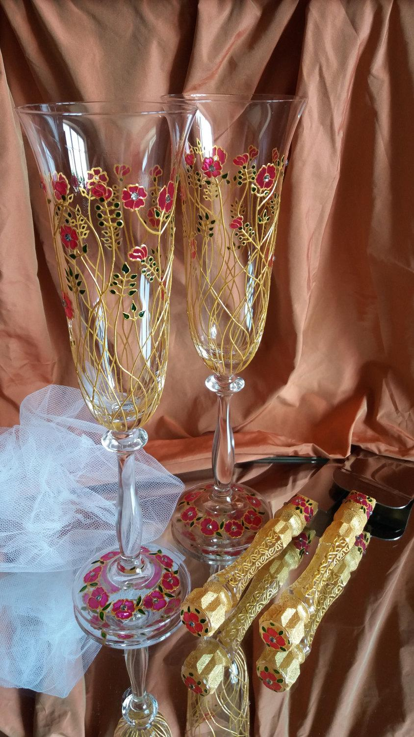 Boda - Wedding Glasses, Engagement Gift cake serving Toasting Flutes Decoration Glasses Champagne Flutes Gift Glasses Pink Flower Toasting Glasses
