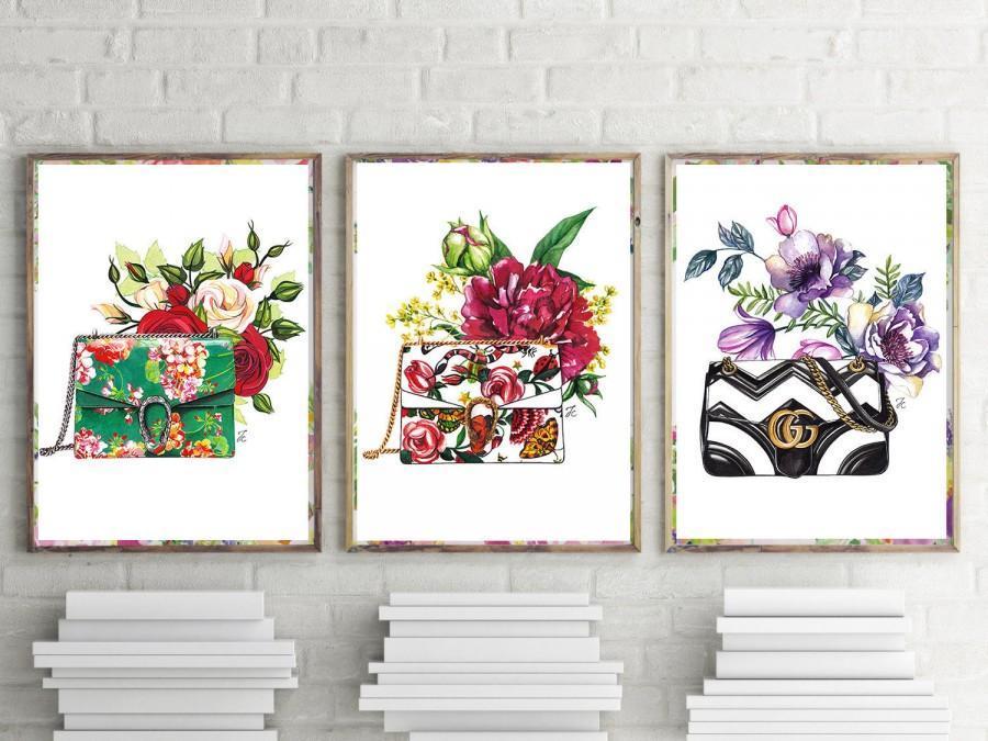 Mariage - Set of 3 fashion, Set of 3, set of 3 prints, fashion prints, fashion illustration, Gucci bag, Gucci, watercolor fashion