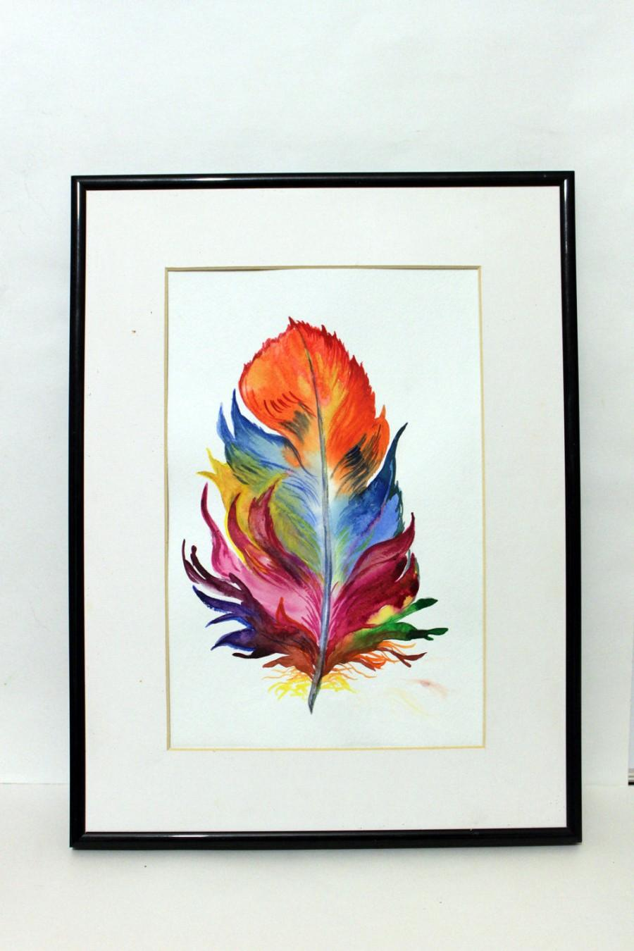 Feather Original Watercolor Painting Handmade Colorful Home