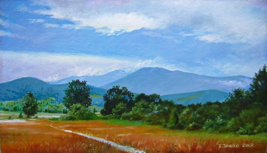 Mariage - original landscape oil painting, wall art, mountains, Horizontal landscape