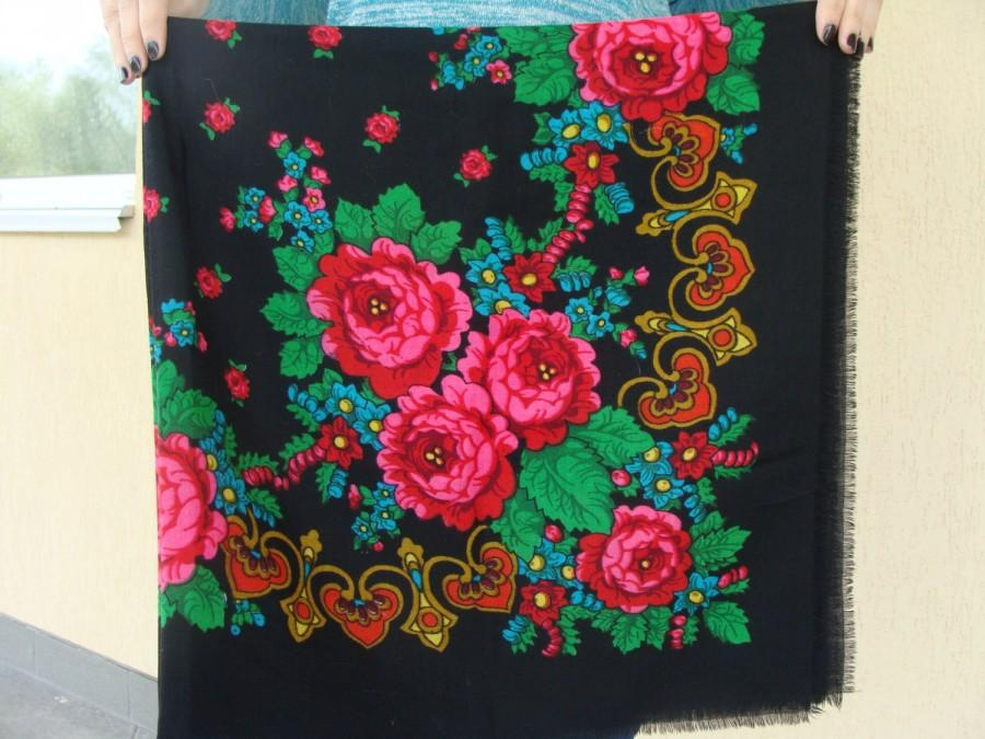 Wedding - Russian shawl Russian scarf Chale russe Ukrainian shawl Vintage shawl Wool shawl Floral scarf Black shawl Head scarf Folk shawl Black scarf