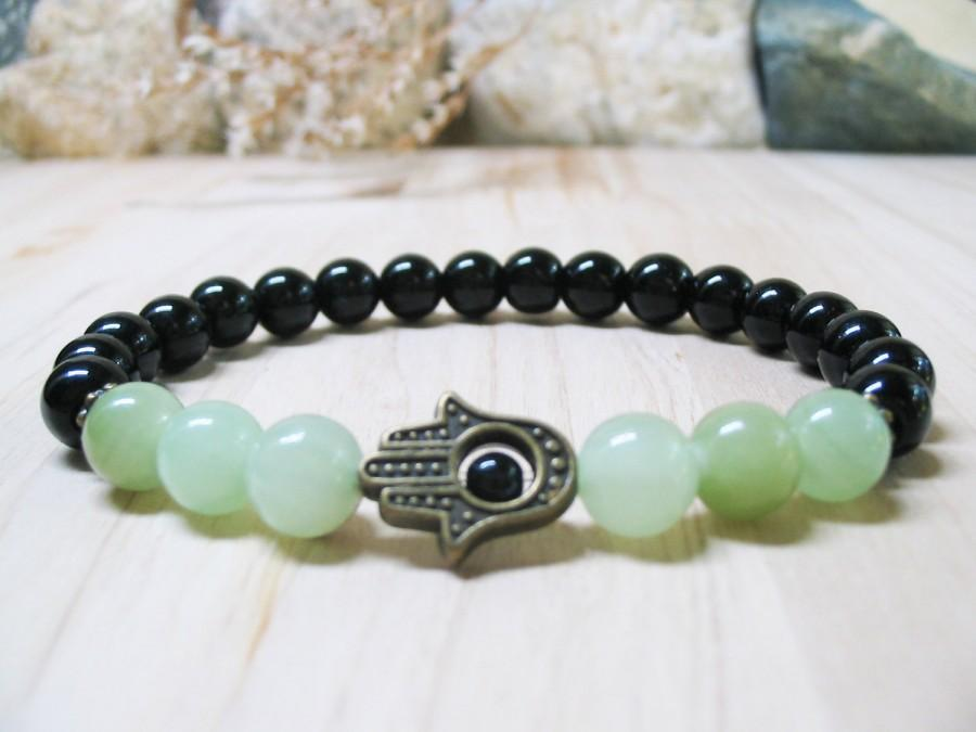 Hamsa Bracelet Black Onyx Jade Gemstone Mens Healing Good Luck Spiritual