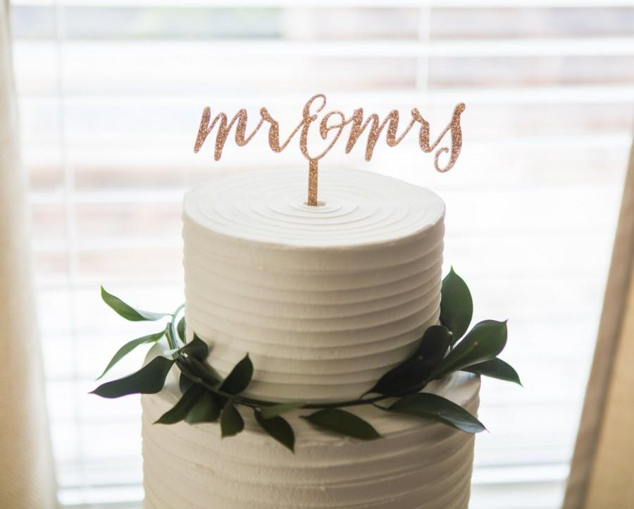 Cake Decor Glitter : Wedding Cake Topper Mr & Mrs Glitter Calligraphy Style ...