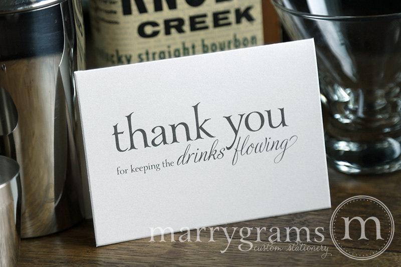 زفاف - Wedding Card to Your Bartender - Thank You for Keeping the Drinks Flowing - Vendor Tip Notecard - Server Thanks on Your Special Day - CS08