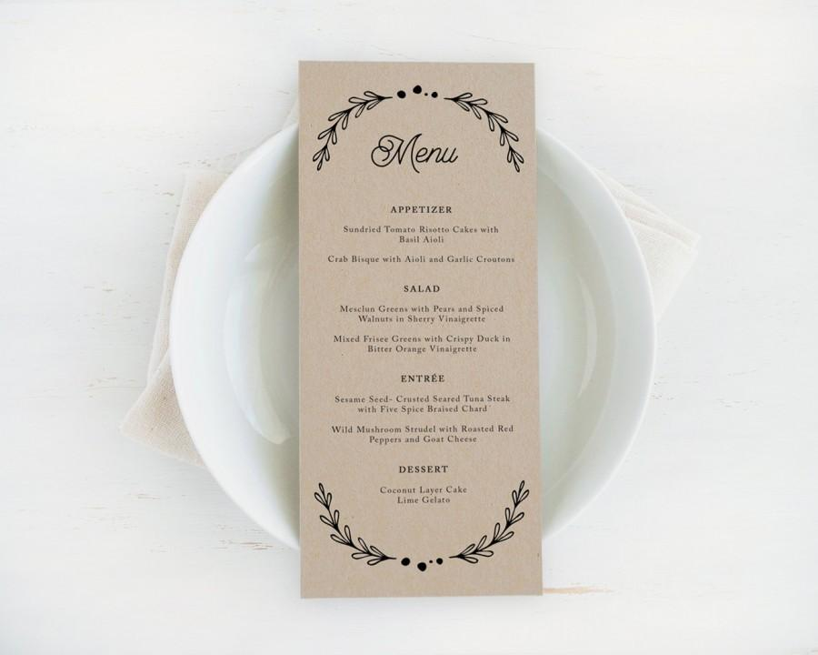 printable wedding menu template editable artwork colour instant