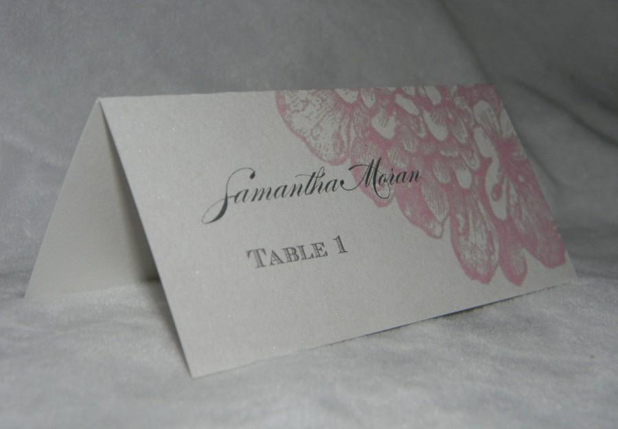 Hochzeit - Wedding Escort Card with Pink Hydrangea printed on premium quality champagne metallic card stock