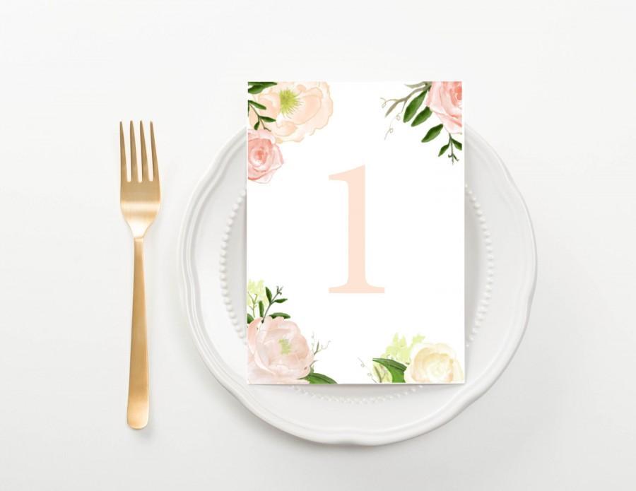زفاف - Peach Water Color Floral Wedding Table Numbers 1-20 - Instant Download
