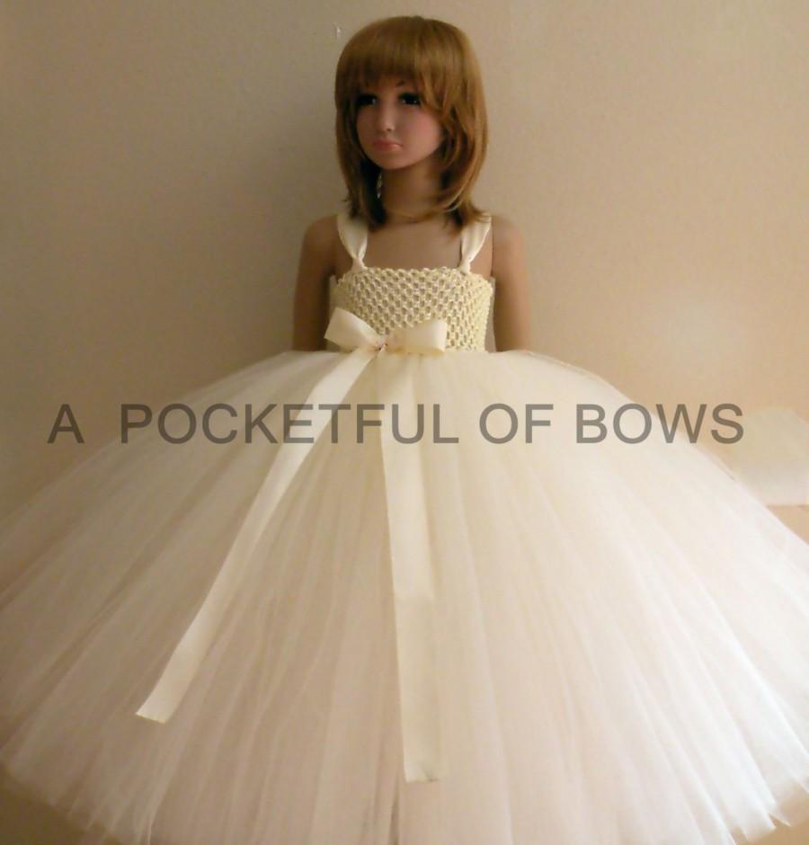 زفاف - Flower Girl Dress Ivory, Girls Formal Dress, Girls Ivory Ball Gown, Flower Girl Dress Tulle