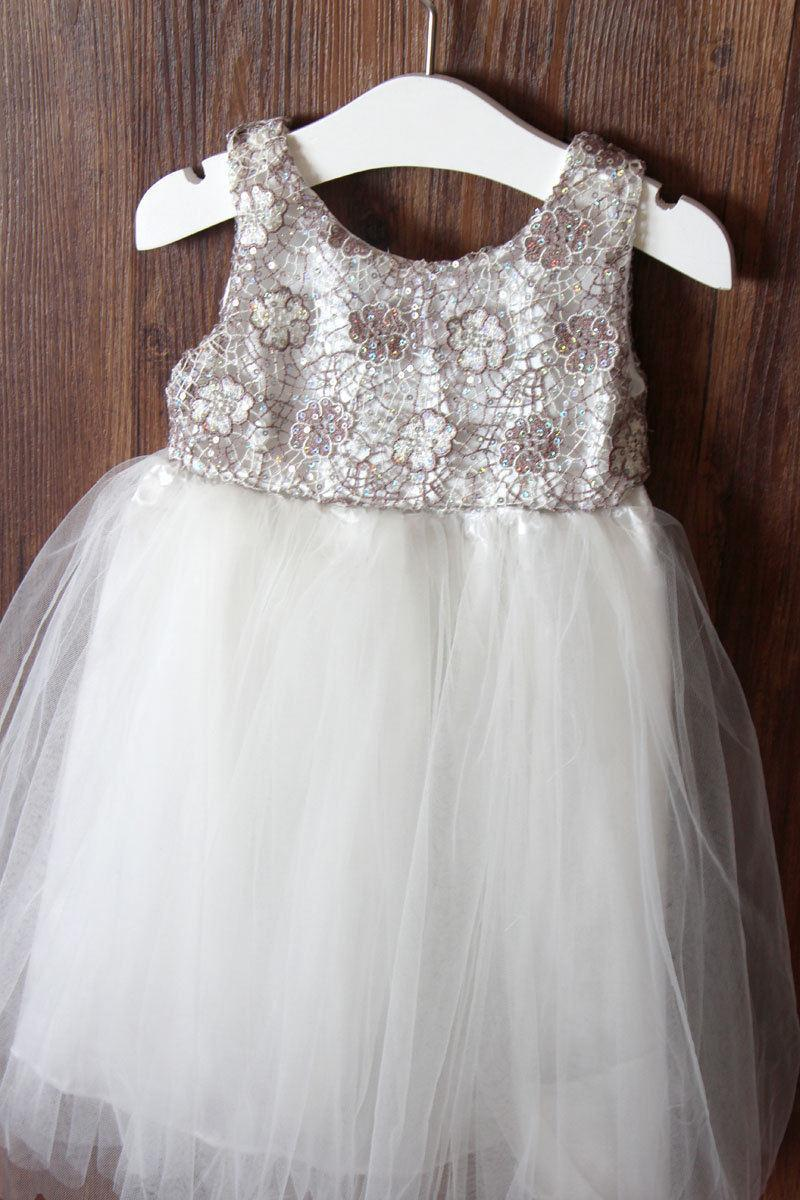 Mariage - Lace Rustic Girls Dress(Sophia Dress) - Rustic Flower Girl Dress – Girls Birthday dress-Flower Girl Gift