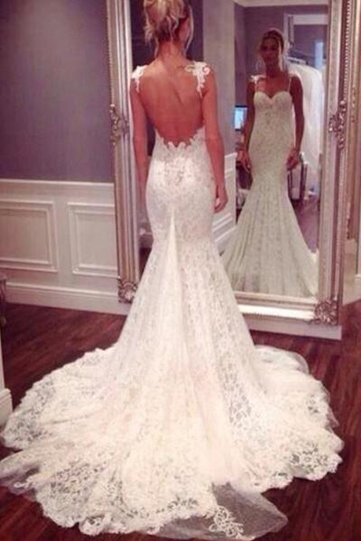 زفاف - Strap Sweetheart Backless Mermaid Lace Wedding Dress Ball Gown WD026