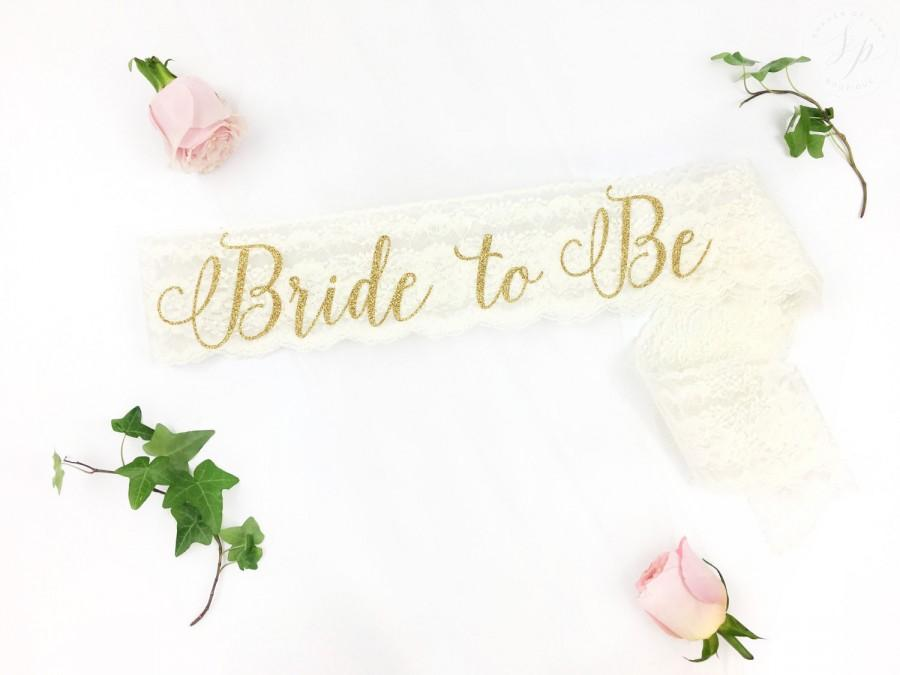 Mariage - Bride-To-Be Sash - Bachelorette Sash - Bridal Shower Bachelorette Party Accessory - Satin Bride Sash - Bride Gift - Bride Sash - Lace Sash