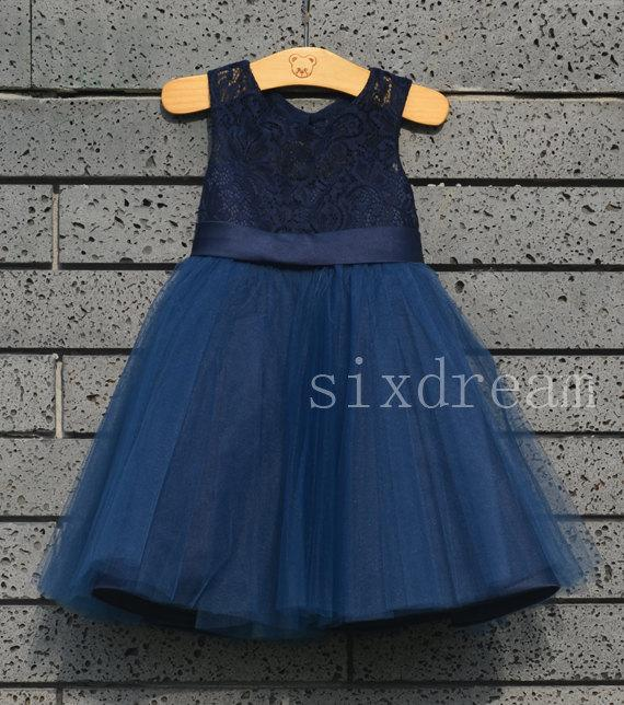 Mariage - Navy blue Lace  Flower Girl Dress navy blue ribbon/bow Country Wedding Baby Girls Dress Tulle Rustic Baby Birthday Dress