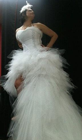 Hochzeit - Peacock or Mermaid Tutu Corset Wedding Gown, Short in front , High-Low