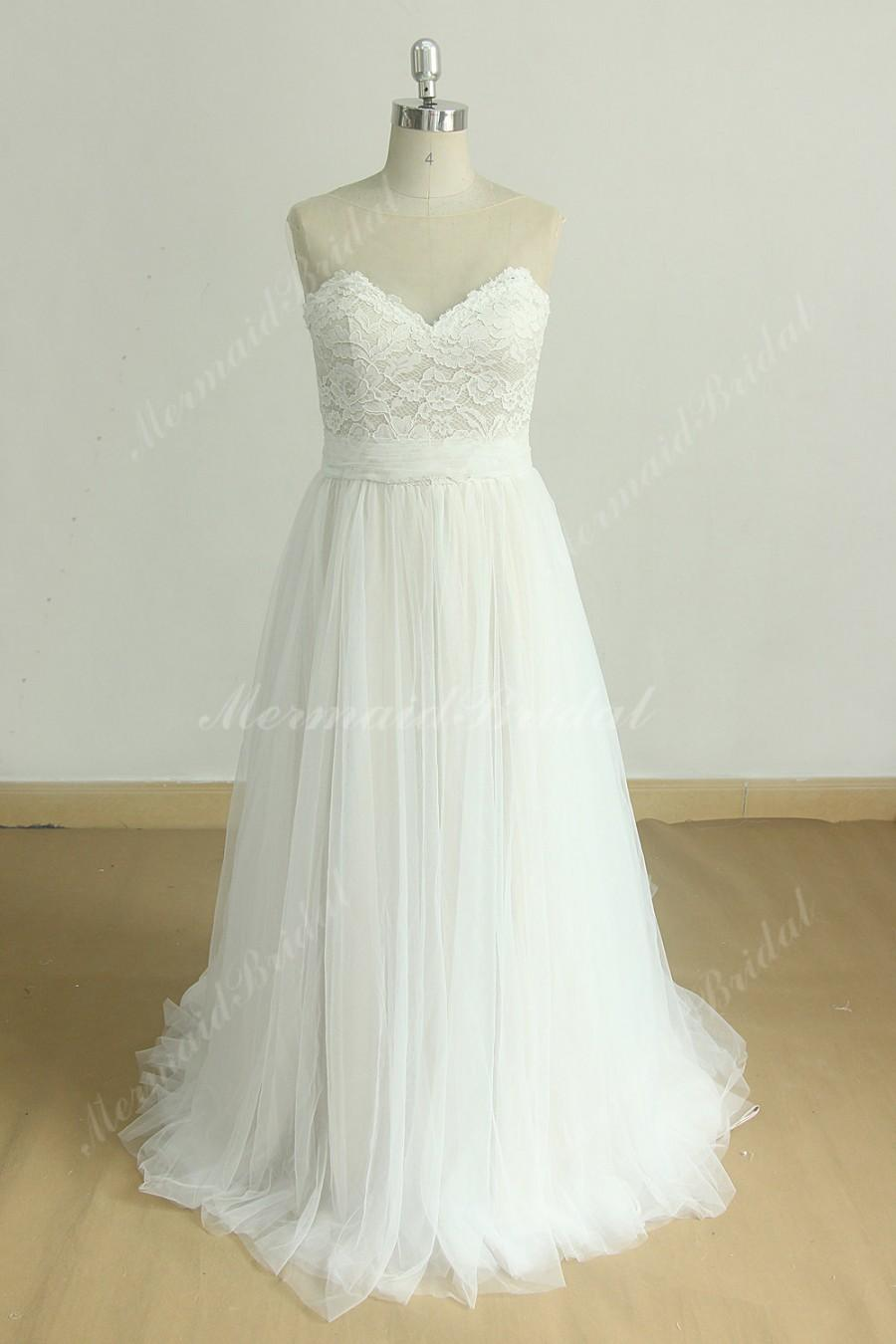زفاف - Flowy Aline Tulle lace wedding dress with illusion sweetheart neckine and champagne lining