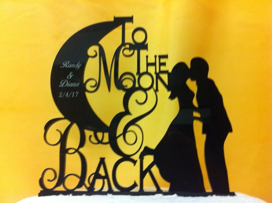 Mariage - To The Moon & Back Silhouette Couple First Names and Date Personalized Wedding Cake Topper
