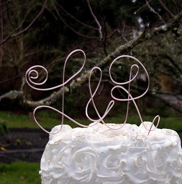 Mariage - Letter Initials Cake Topper, Pick Your Cake Size & Color