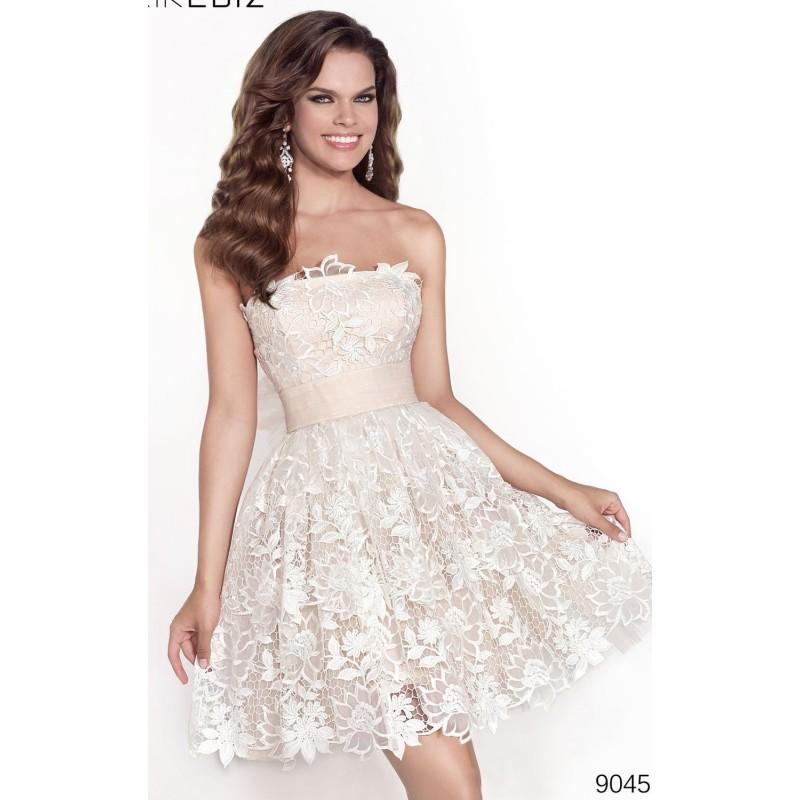 Mariage - Cream/Salmon Strapless Lace Mini Dress by Tarik Ediz - Color Your Classy Wardrobe