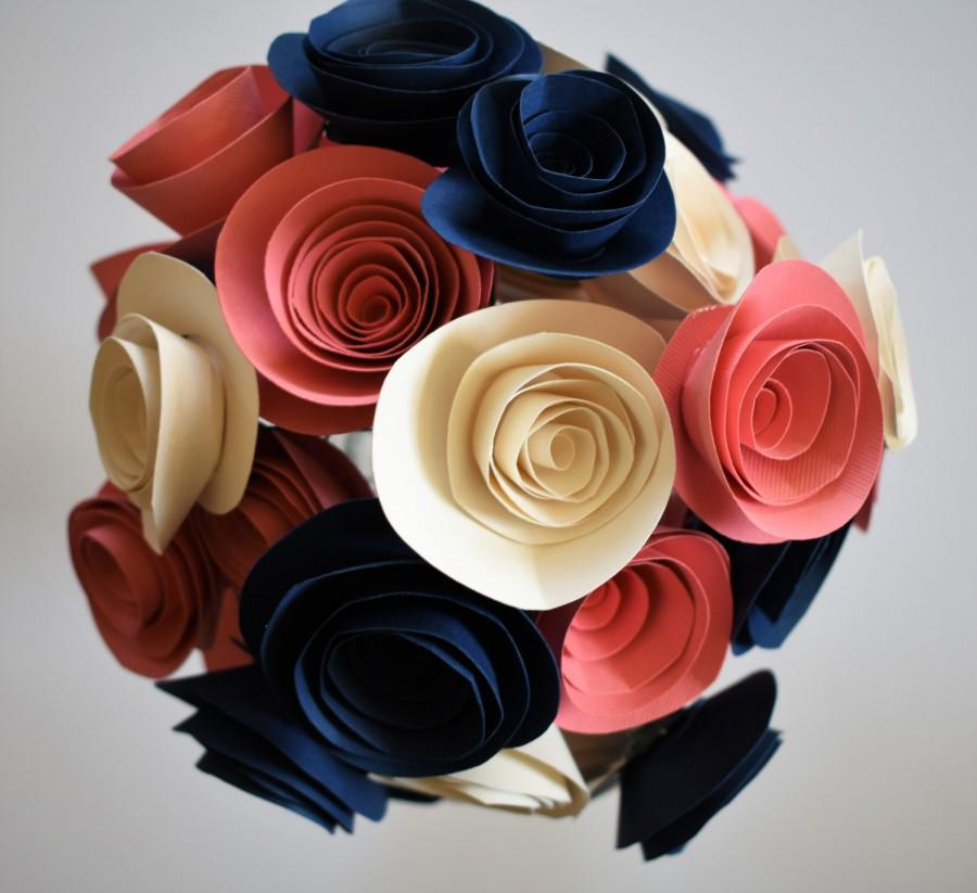Hochzeit - Coral and Navy Wedding, Coral, Navy, and Ivory Paper Flower Bouquet, Alternative Paper Rose Bouquet