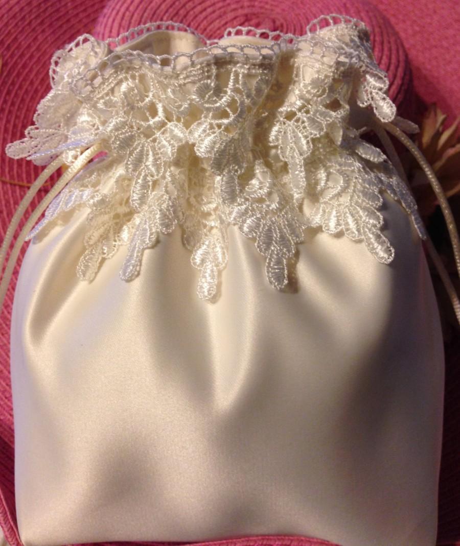 "Hochzeit - WEDDING CARD BAG, Ivory Drawstring Card Bag, Ivory Double Lace, Keepsake Bag, Heirloom Bag, Money Bag, Wedding Accessory, 12"" x 11"""