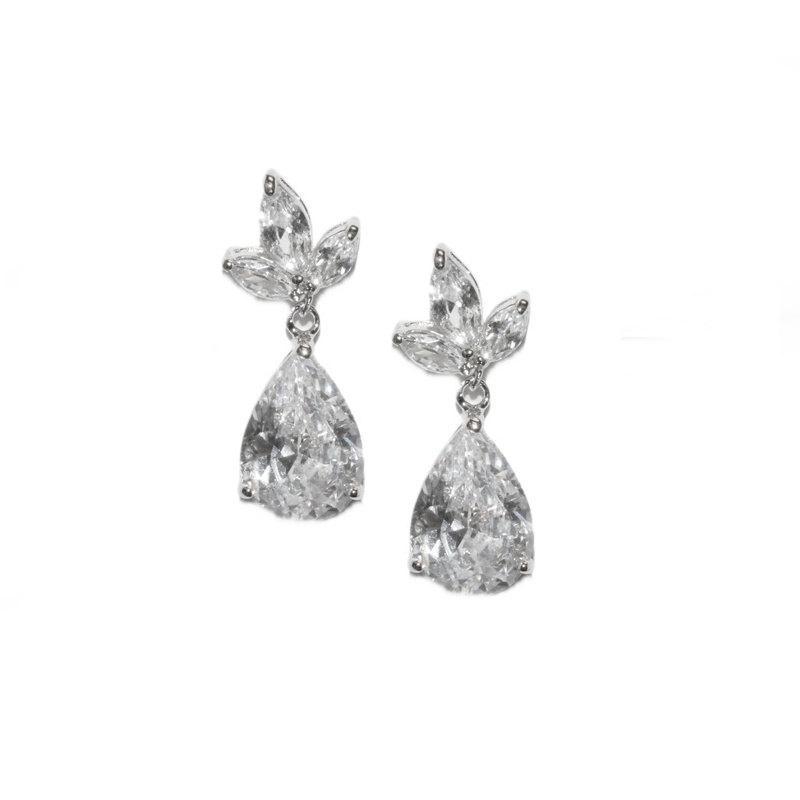 Mariage - CZ Drop Earrings, Dangle Earrings, Crystal Drop Earrings, Bridal Earrings, Wedding Earrings, Cubic Zirconia Earrings,