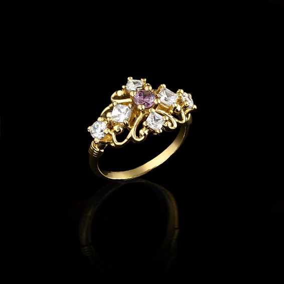 Mariage - Gold Ring, Amethyst Engagement Ring, Engagement Ring in 14K Gold with Your Birth Gemstone and Cubic Zirconia, Custom Birthstone Jewelry.