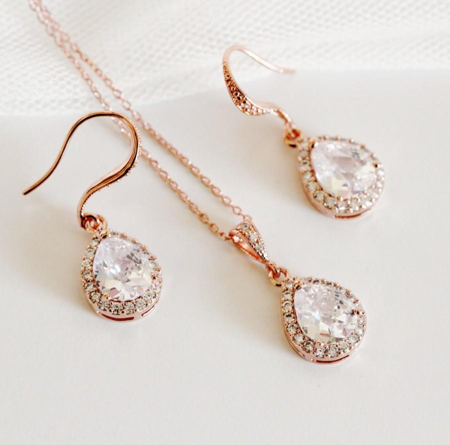 Mariage - Rose Gold Bridal Jewelry Set Rose Gold Wedding Jewelry Set Bridesmaid Jewelry Bridesmaid Gift Set Rose Gold Earrings Necklace Set