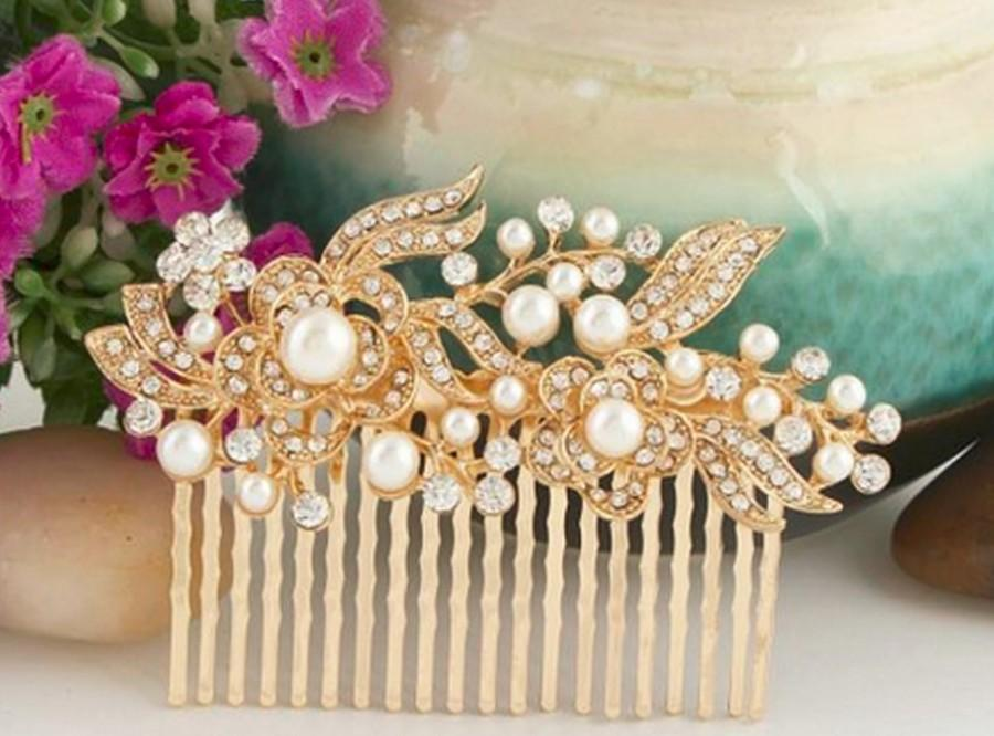 Hochzeit - Gold Bridal Hair Comb, Gold Pearl Bridal Hair Comb, Gold Wedding Hair Comb, Decorative Hair Comb, Large Hair Comb,