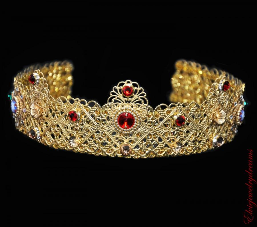 Mariage - Red Gold Crown Baroque Metal Vintage 24 k Gold Handmade Tiara Headband