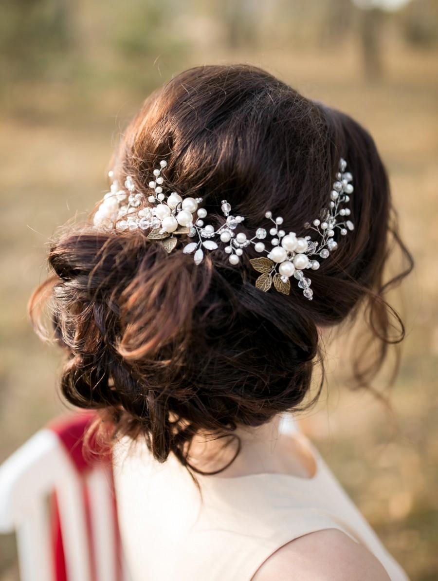 Wedding - Ivory Bridal Hair Vine, Bridal Headpiece, Flower Headpiece, Crystal and Pearl Wedding Hairpiece, Wedding hair vine, Wreath, Bridal Hair Halo