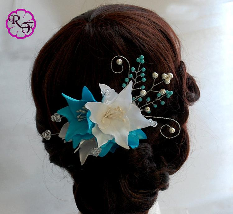 Mariage - Bridal hair accessory , turquoise flower , Kanzashi flowers , wedding hair accessory , tone comb