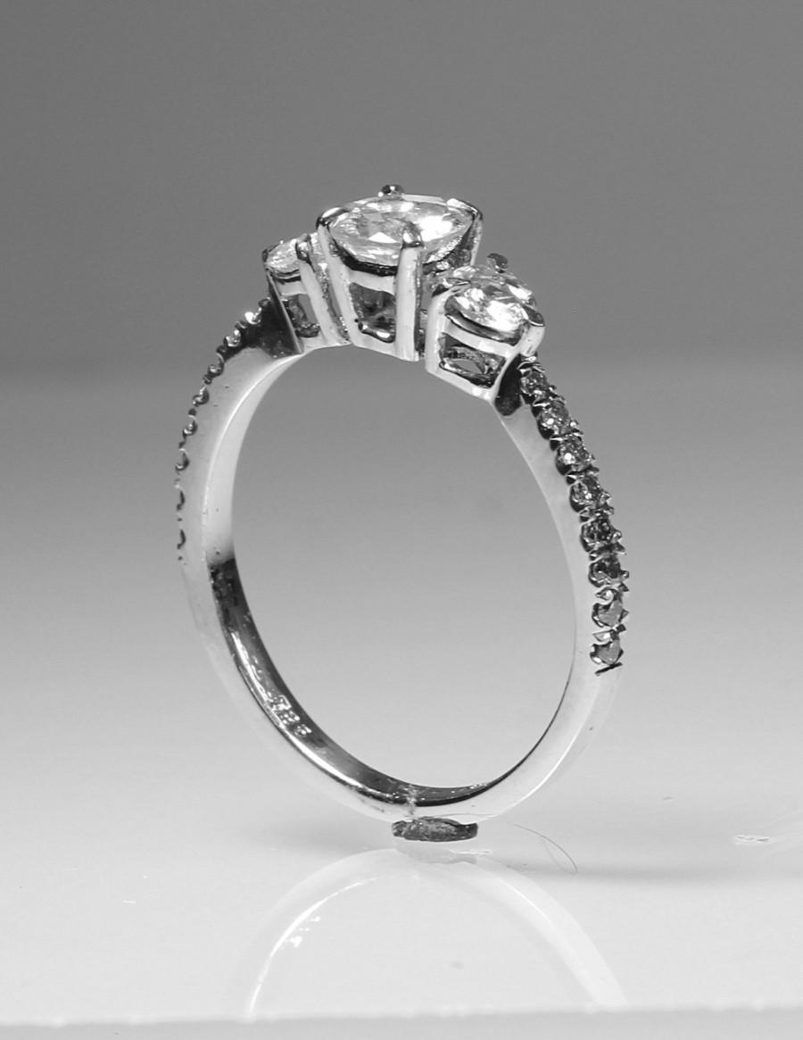 3 Stone Engagement Ring Stunning Contemporary Bezel Ring Set