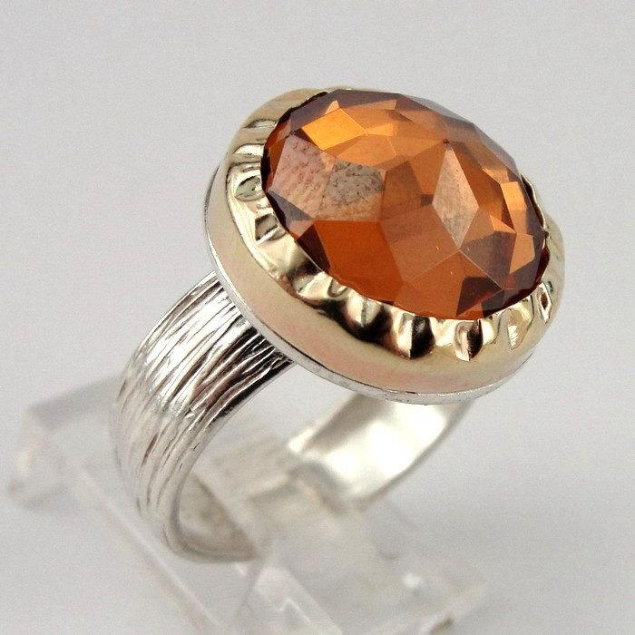 Mariage - SALE PRICE - Stunning 9K Yellow Gold & Silver Champagne Quartz Ring size 6