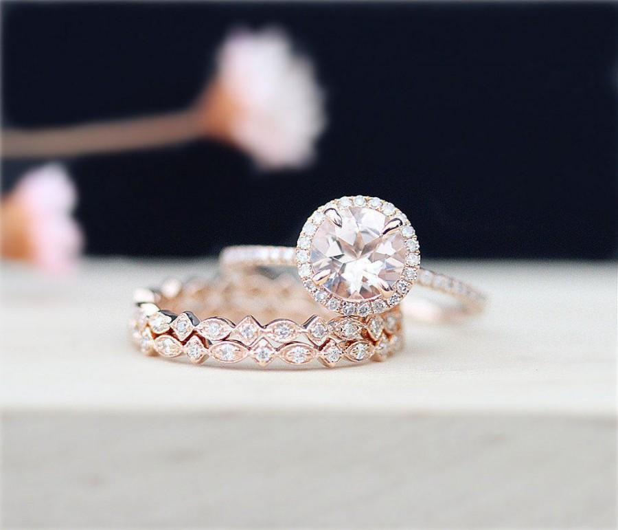 Mariage - 3Rings Pink Morganite 7mm Round Cut 14K Rose Gold Engagement Ring &Full Eternity Pave Diamond Engagement Ring Art Deco Style Band