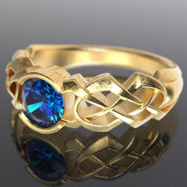 Mariage - Gold Celtic Blue Sapphire Engagement Ring With Dara Knot Design in 10K 14K 18K or Palladium, Made in Your Size Cr-414