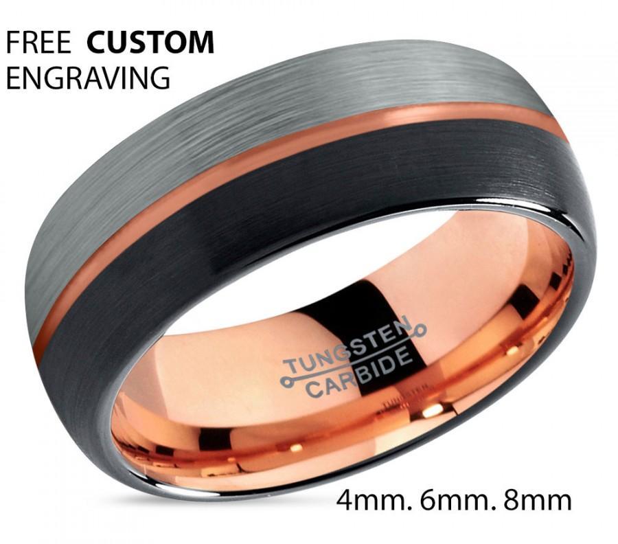 Mariage - Black Tungsten Ring Rose Gold Wedding Band Ring Tungsten Carbide 8mm 18K Tungsten Man Wedding Band Male Women Anniversary Matching