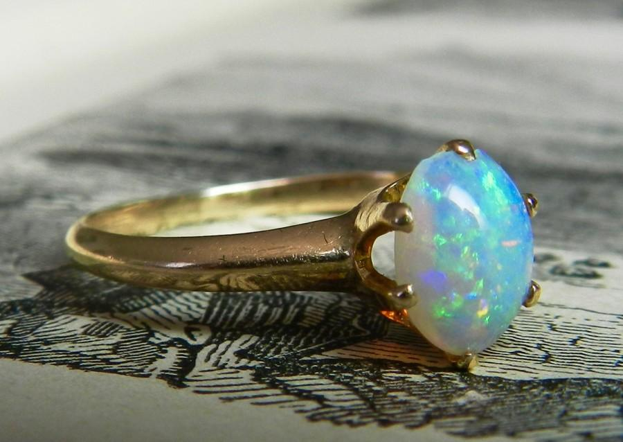 Mariage - Opal Ring Gold 1800s Victorian Ring Australian Opal Engagement Ring Unique Engagement 14K Gold October Birthstone