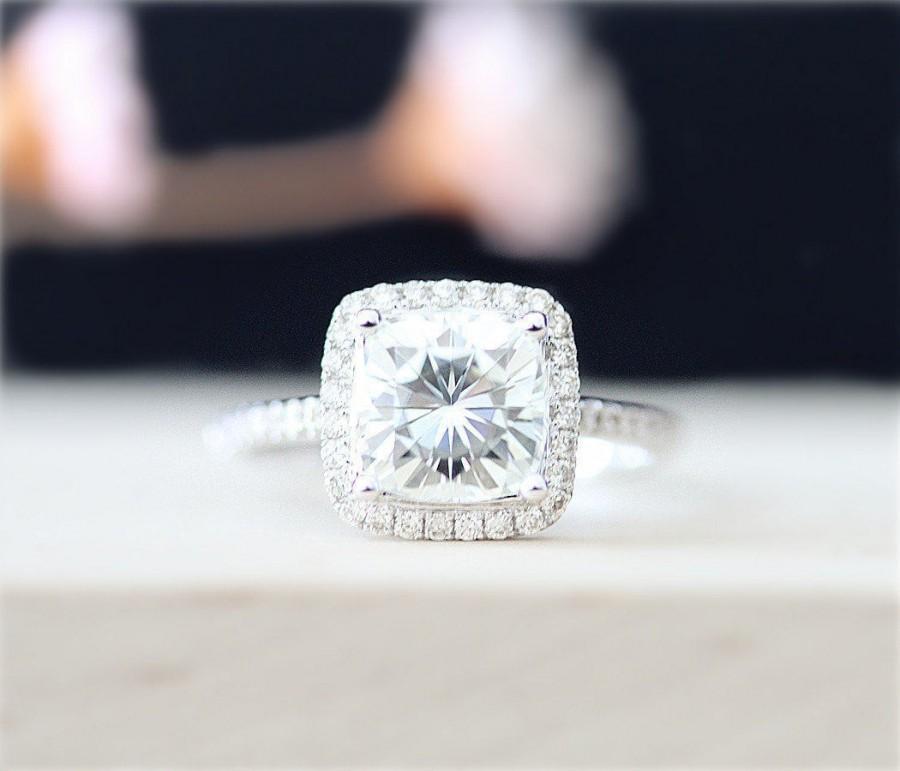 Mariage - Forever Brilliant Moissanite 7.5mm Cushion Cut Moissanite Engagement Ring 14K White Gold Half Eternity Pave Diamond Ring