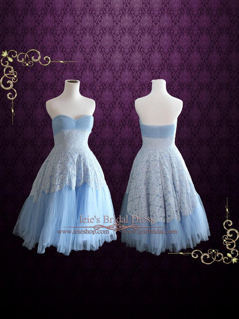 32460ff466 Retro 50s Blue Tea Length Prom Dress