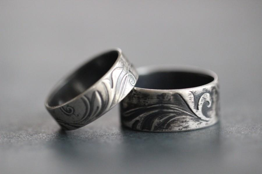 Wedding - TENDRILS: Wedding Band Set, Wide Band, Rustic, Bohemian, Botanical, Embossed, His and Hers, Made To Order