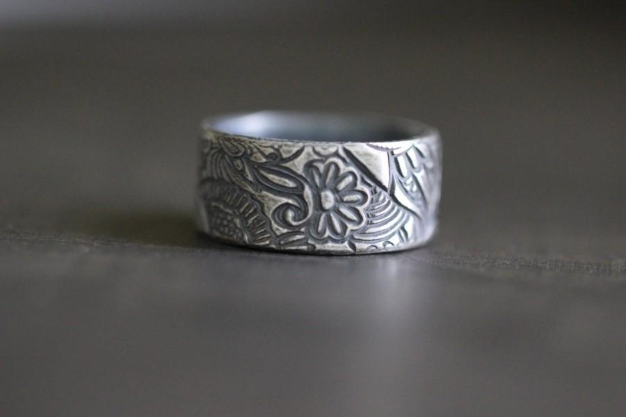 Mariage - PAISLEY TOO, Paisley Ring, Botanical, Womens Ring, Rustic, Wide Band, Wedding Band, Wedding Ring, Wide Band, Embossed, Silver, Sterling