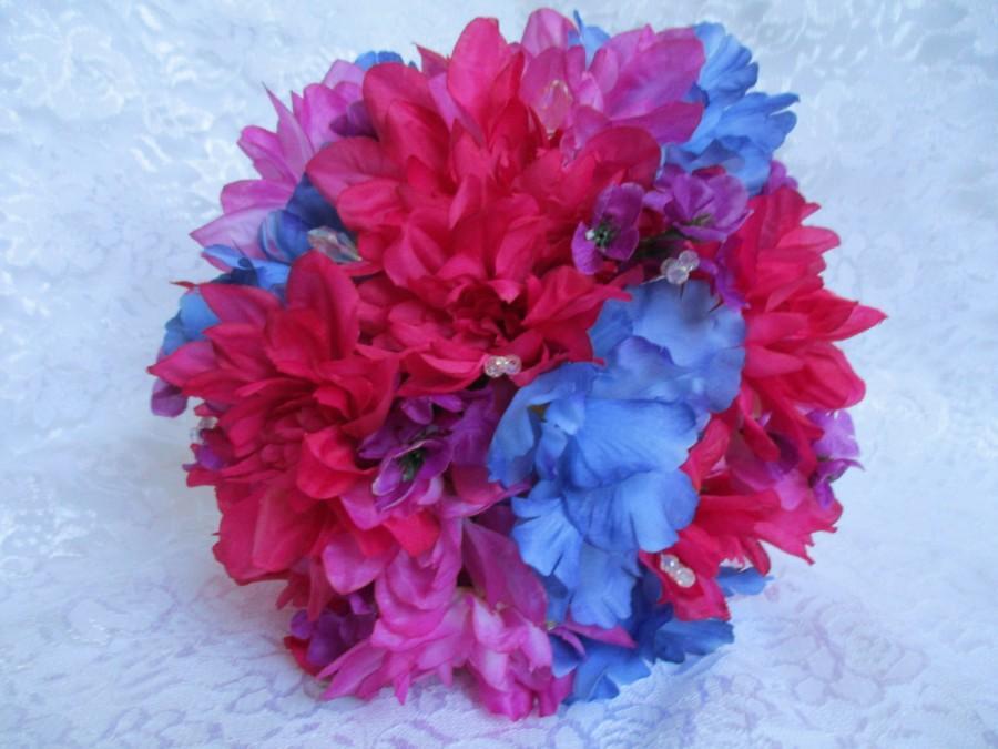 Hochzeit - Wedding Berry Bouquet, Pink Bridal Bouquet, Blue Bouquet, Bridal Purple Bouquet, Colorful Bouquet, Summer Bouquet, White Sparkly