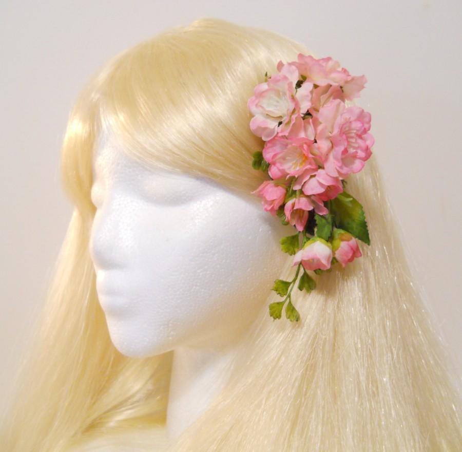 زفاف - Cherry Blossom Hair Clip Spring Pink Flower Pink Cherry Blossom Moss Sakura Flowers Wedding Flower Girl Spring Bride Ginkgo Vine Mori Kawaii