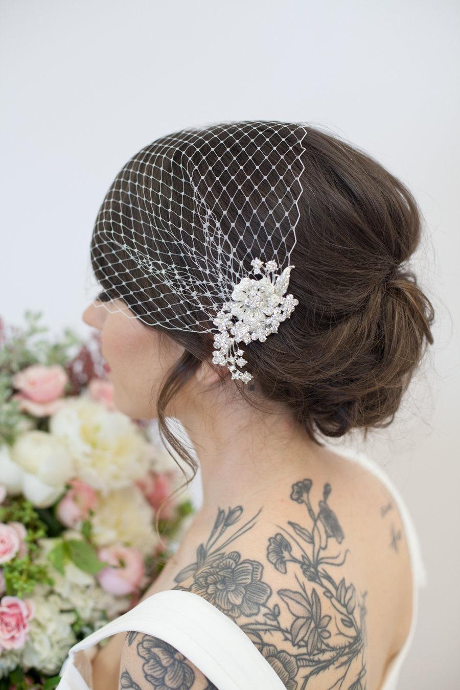 زفاف - Birdcage Veil, Bridal Veil and Bridal Comb, Bandeau Birdcage Veil, Blusher Bird Cage Veil - QUICK SHIPPER - Detachable Rhinestone Hair Comb